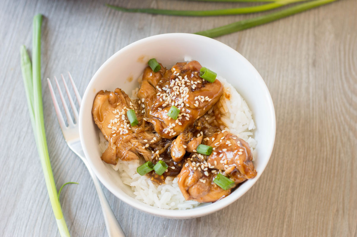 Chicken and rice in a bowl