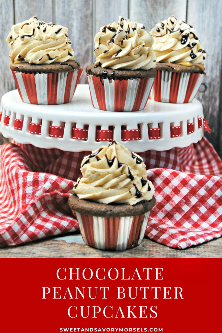 Rich, dark, and incredibly moist chocolate cupcakes are filled with peanut butter then topped with a chocolate-drizzled peanut butter buttercream frosting in this homemade Chocolate Peanut Butter Cupcakes recipe.