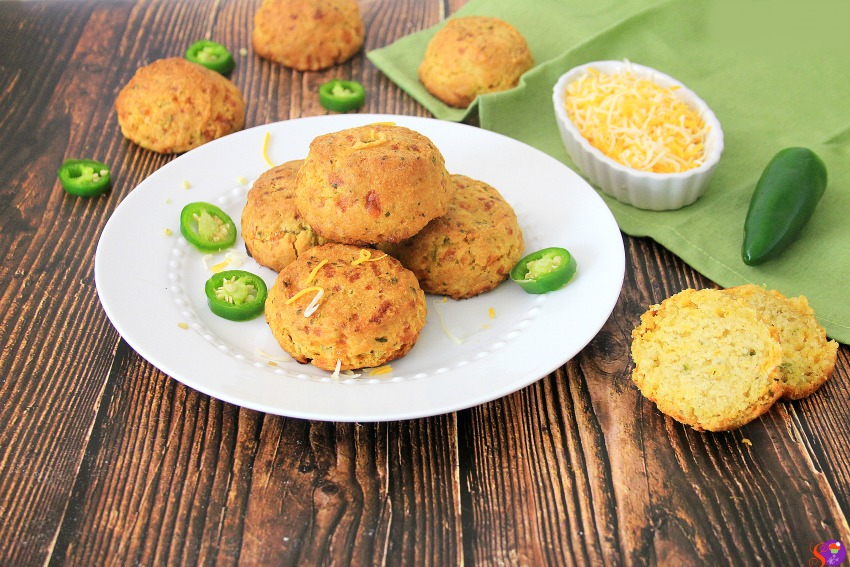 Jalapeño Cheddar Biscuits on plate