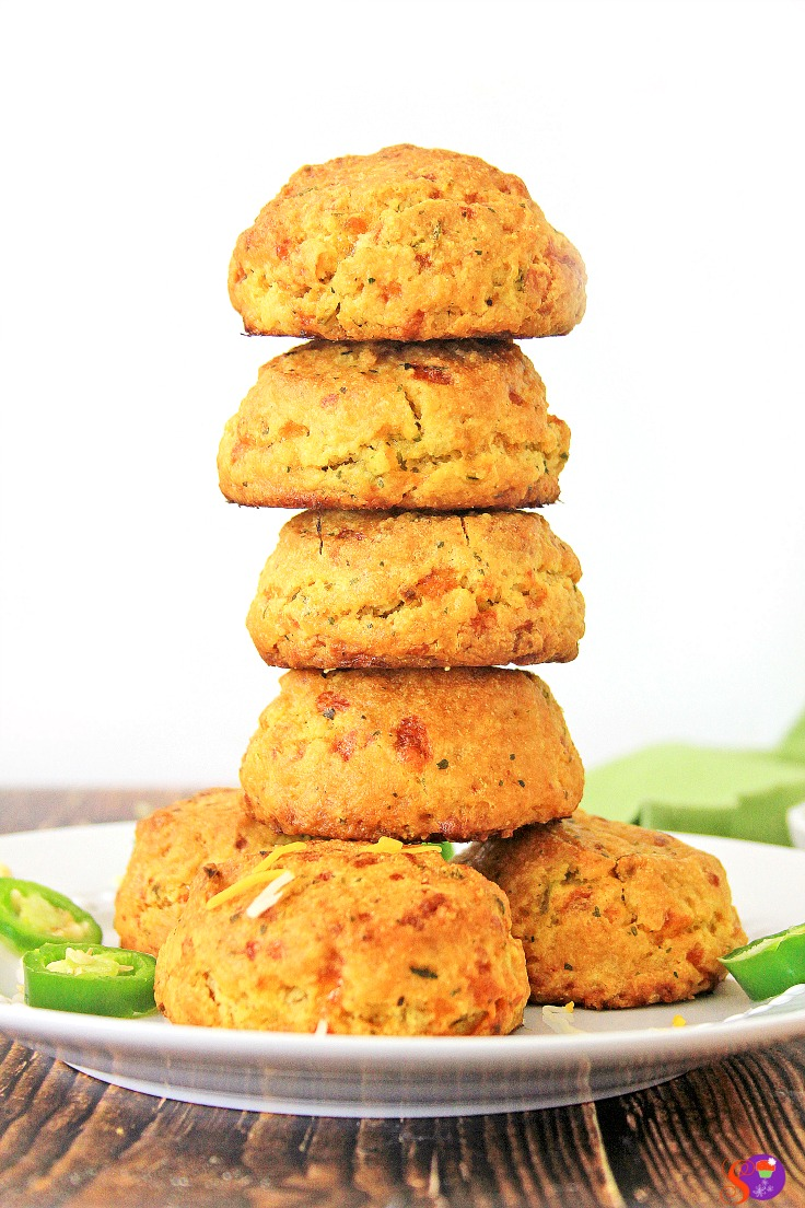 This easy homemade gluten-free Jalapeño Cheddar Biscuits recipe is packed with cheesy goodness and tiny bits of fresh jalapenos that add the perfect amount of punch!