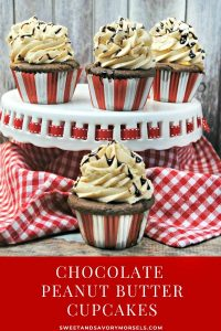 Rich, dark, and incredibly moist chocolate cupcakes are filled with peanut butter then topped with a chocolate-drizzled peanut butter buttercream frosting in this mouth-watering homemade Chocolate Peanut Butter Cupcakes recipe.