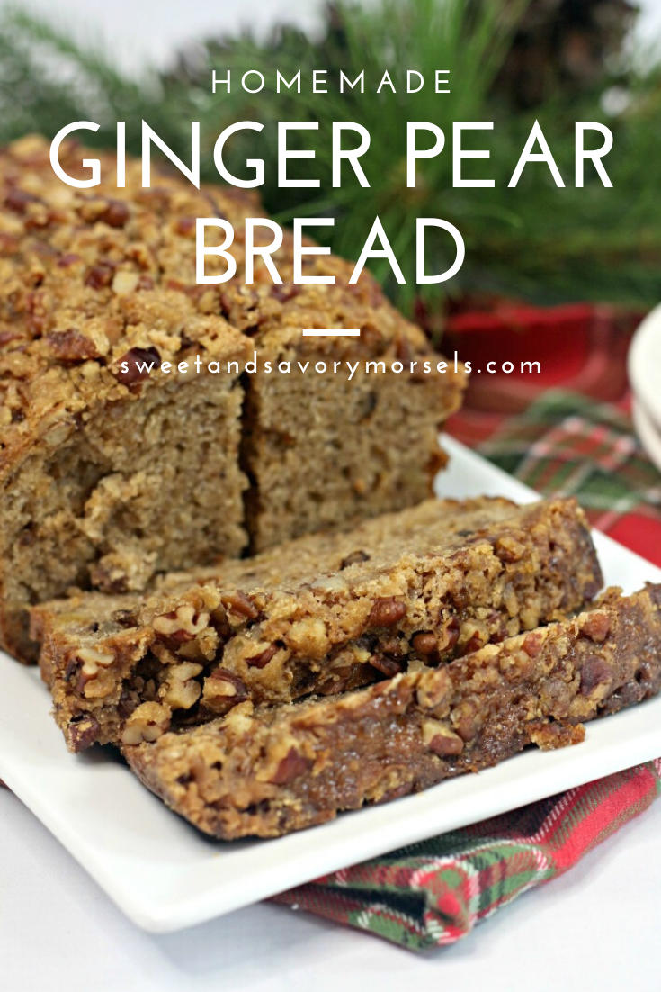 The sweet taste of fresh pear is combined with the bold flavor of ginger then topped with nutty goodness in this soft, moist, homemade Ginger Pear Bread recipe.