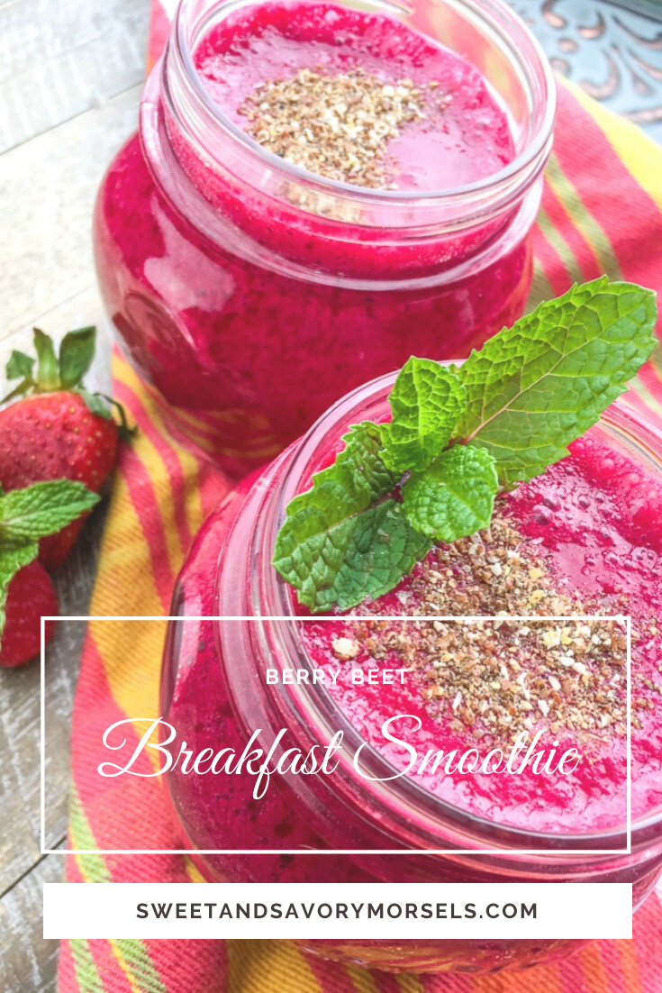 This vibrantly colored Berry Beet Smoothie is loaded with healthy ingredients including berries, beets, and chia seeds. It's super filling and satisfying, and has an irresistible flavor you'll love - even if, like me, you hate beets!