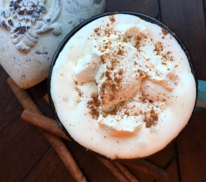 Irish coffee with sprinkle of cinnamon