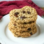 Soft and Chewy Homemade Oatmeal Raisin Cookies on plate