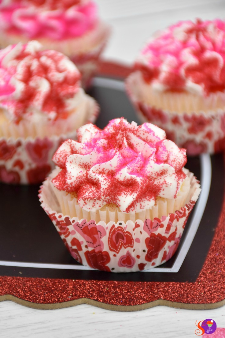 These delicious Valentines cupcakes are colorful, full of flavor, and the perfect festive treat!