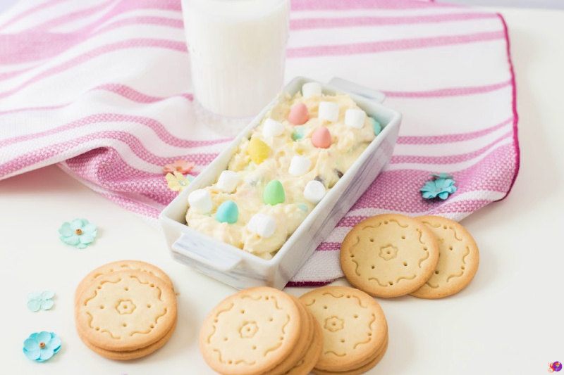 Easter Cookie Dip in serving plate on pink towel