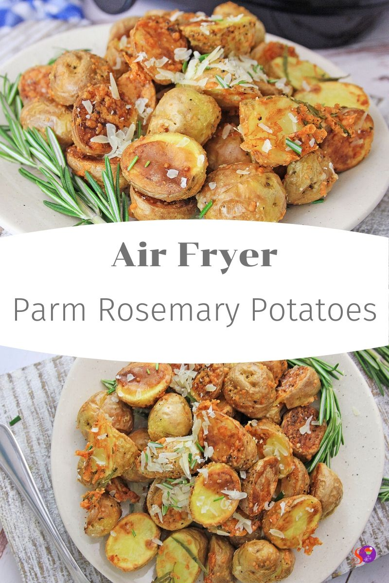 Air Fryer Parm Rosemary Potatoes on a plate