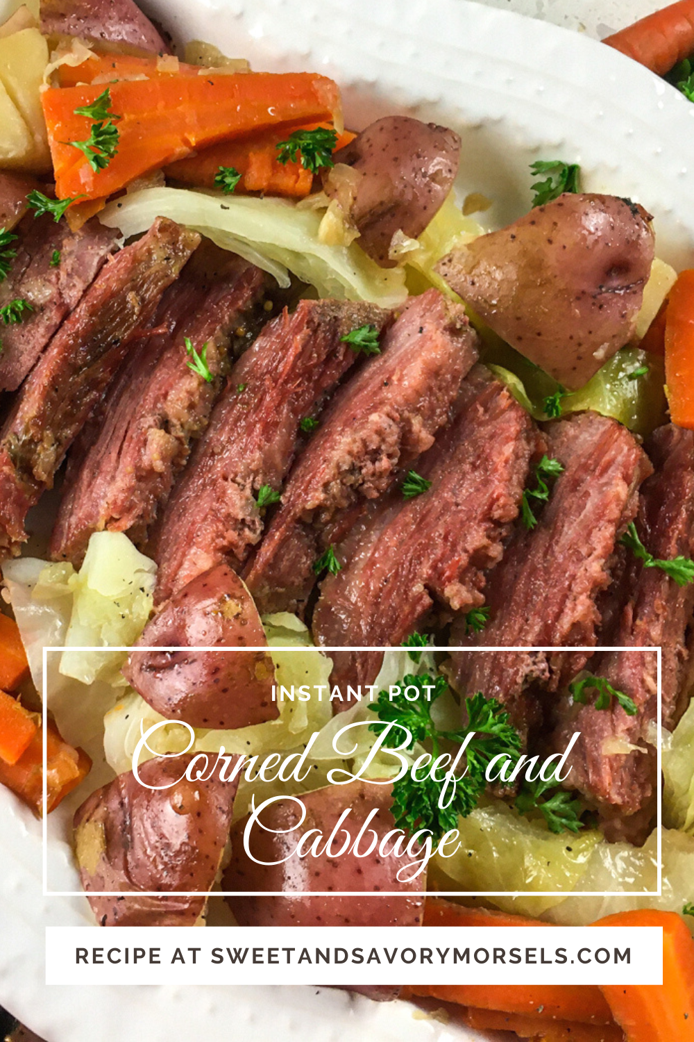 Tender, fall-apart chunks of beef braised in beef broth and vegetables for an unbelievably easy and delicious gluten-free Instant Pot Corned Beef and Cabbage dinner. It's the perfect recipe for St. Patrick's Day (or any other day of the year)! #sweetandsavorymorsels #recipe #StPatricksDay #instantpotrecipe