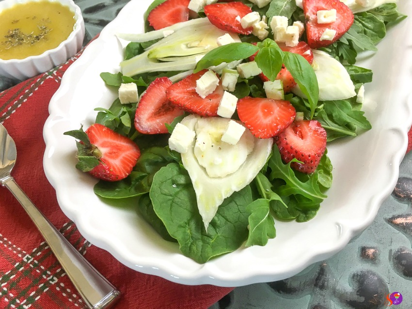 A beautiful Spinach, Strawberry and Fennel Salad with Balsamic Vinaigrette