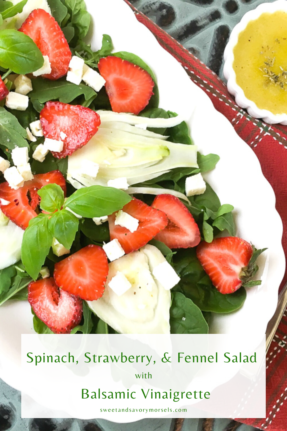 Sweet, juicy strawberries, peppery arugula, crisp fennel, and creamy feta are tossed together with a sweet and savory homemade Balsamic Vinaigrette dressing in this delicious Spinach, Strawberry and Fennel Salad with Balsamic Vinaigrette.