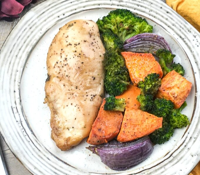 quick and easy sheet pan balsamic chicken and vegetables on plate