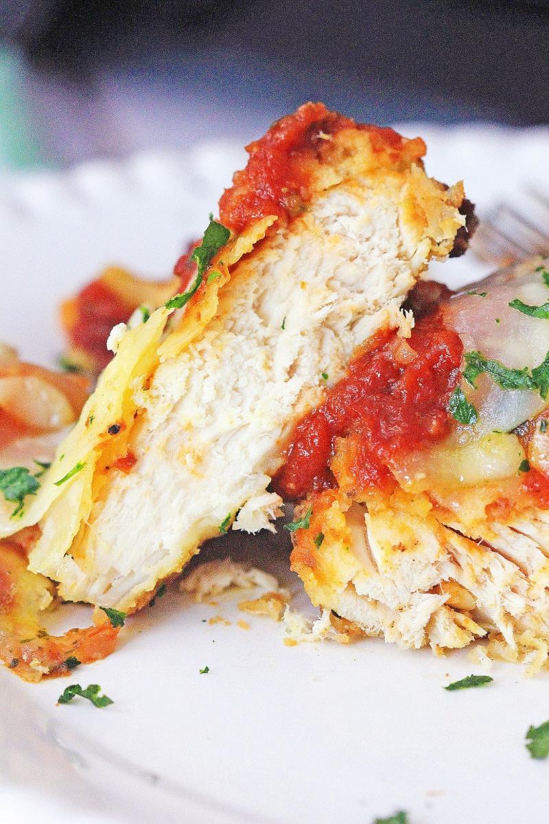 Air Fryer Chicken Parmesan on white plate