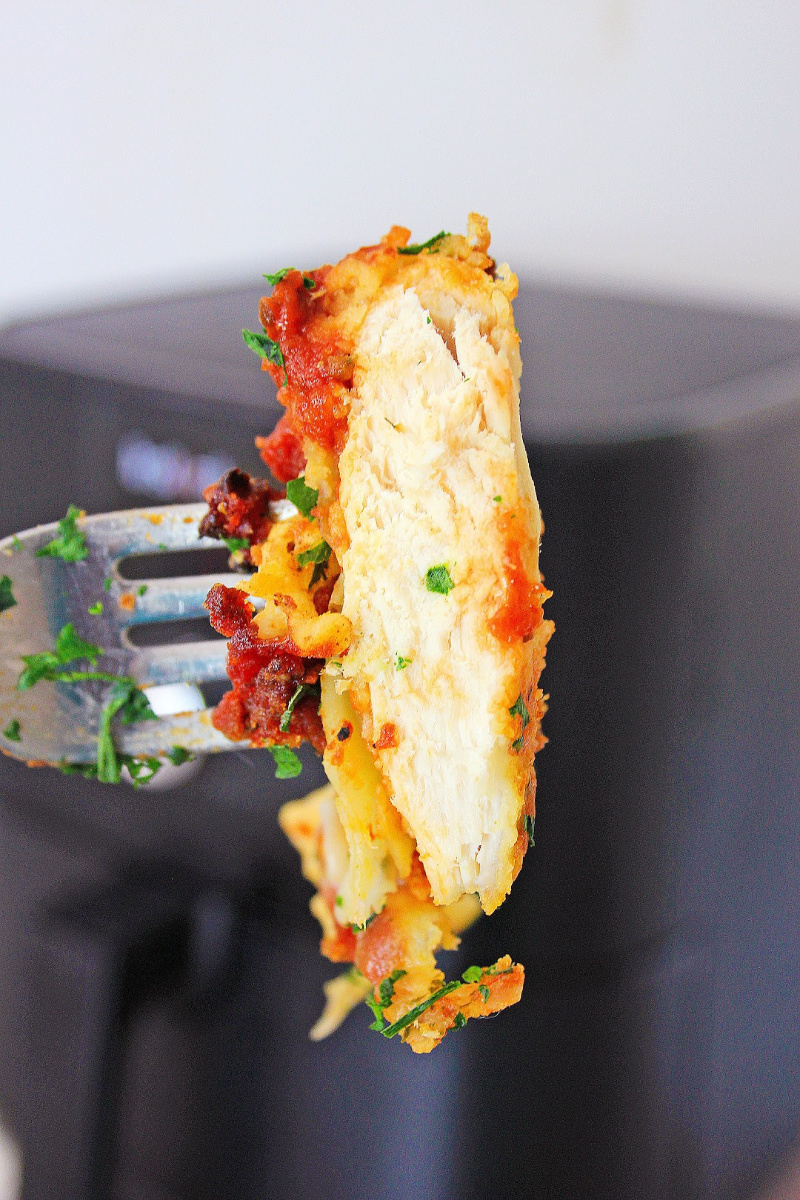 Air Fryer Chicken Parmesan on a fork