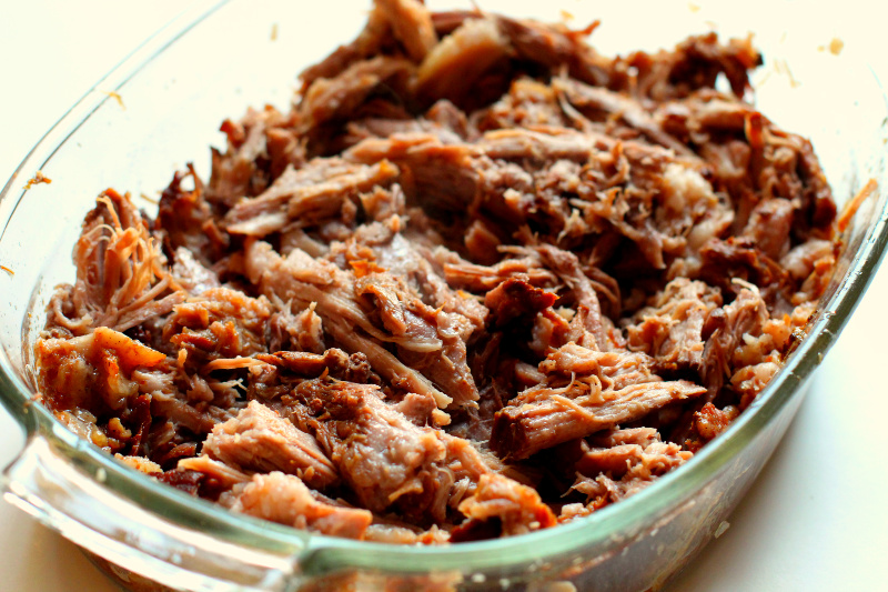 Crock-Pot Texas-Style Pulled Pork in a glass pan