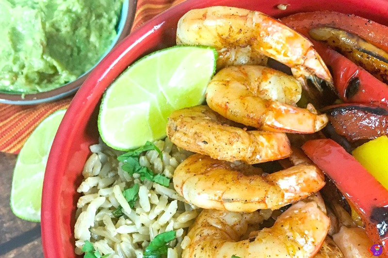 shrimp served over a bed of cilantro-lime rice