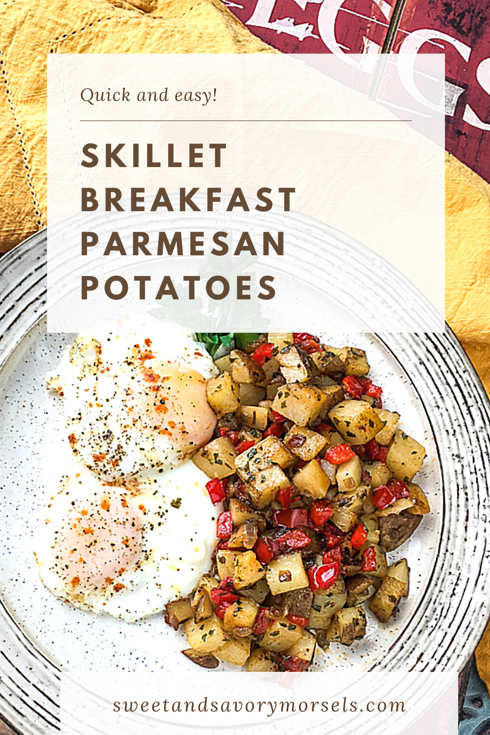 With well-seasoned, deliciously crispy outsides and smooth, creamy centers, these made from scratch Skillet Parmesan Breakfast Potatoes are delicious and easy to make!