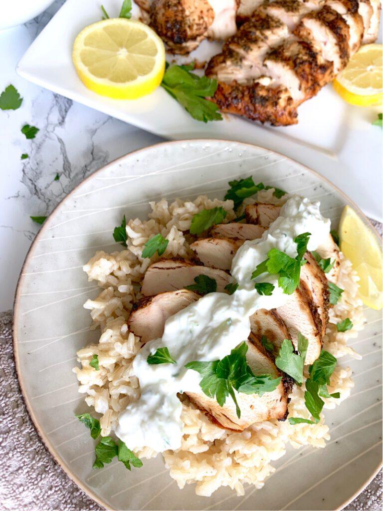 Grilled Greek Lemon Chicken With Creamy Tzaziki