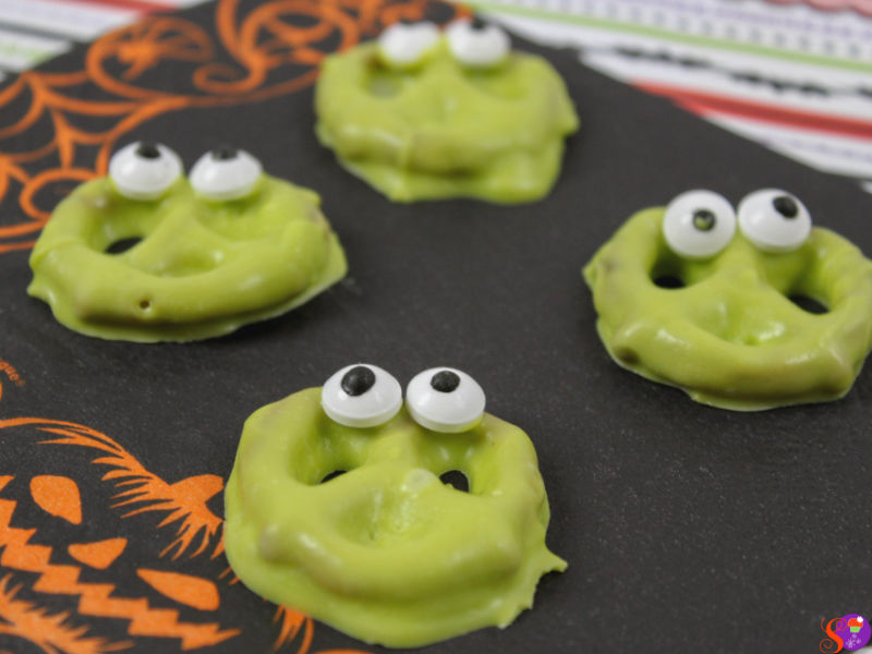 Halloween recipe Silly Monster Pretzels