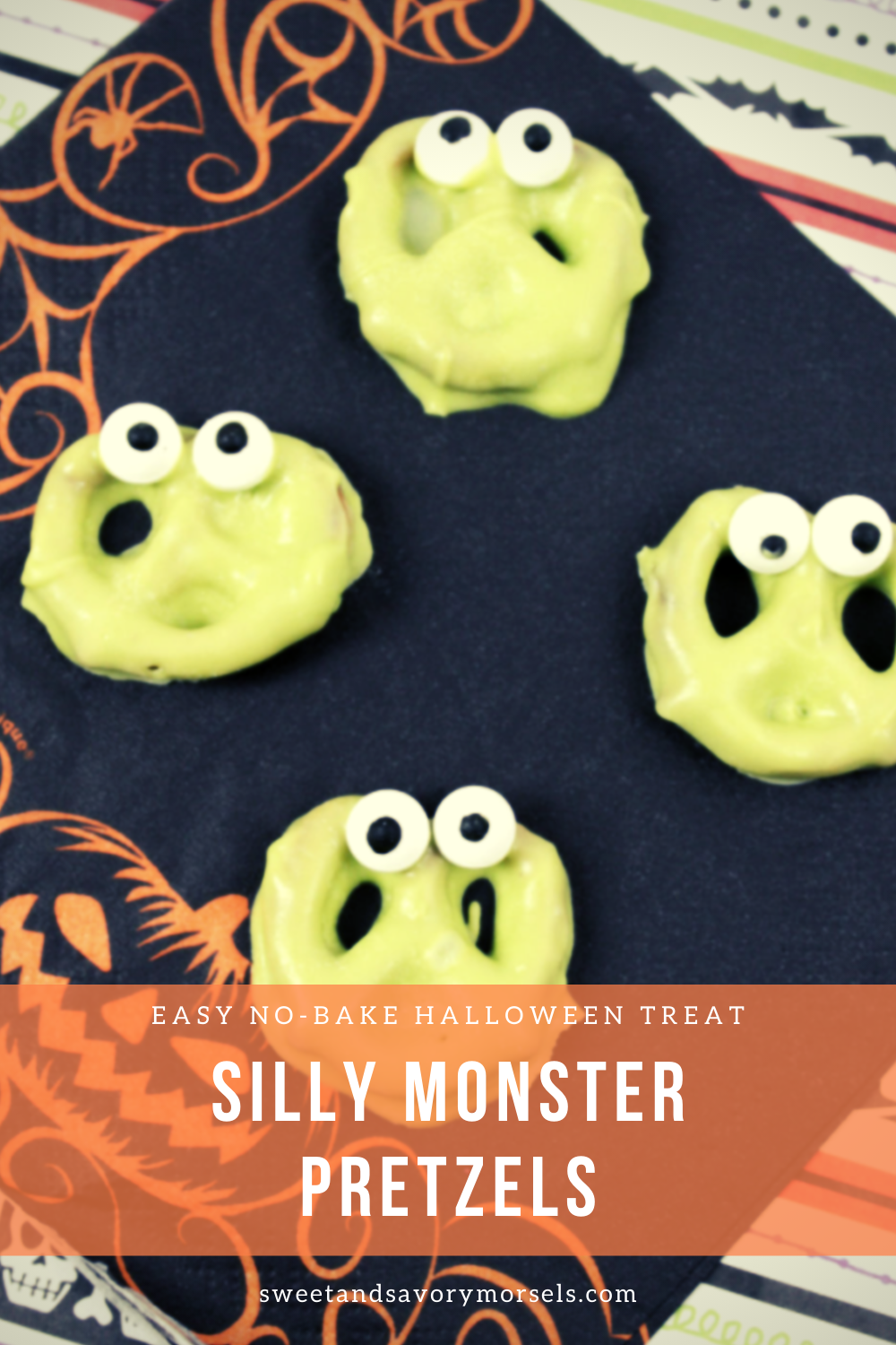 Silly Monster Pretzels are a classic fun treat that's sweet and salty and just plain silly! #sweetandsavorymorsels #Halloween